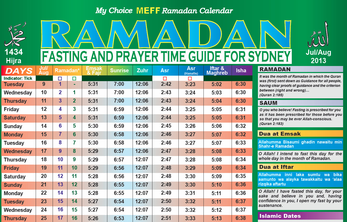 Ramadan, the month of Fasting for Muslims